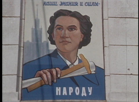 A revolutionary Communist poster graces 1970's Soviet Union Stock Video Footage