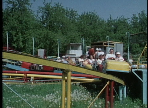 An out of date roller coaster in an amusement park Footage