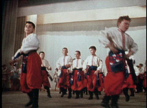 Russian or Eastern European dancers perform a traditional... Stock Video Footage