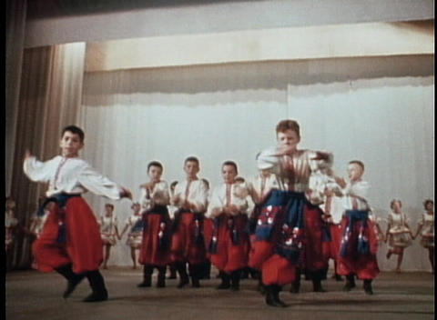 Russian or Eastern European dancers perform a traditional dance Live Action