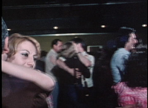 Couples dance in a lounge in this dated shot Stock Video Footage