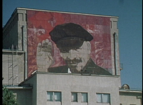 A giant poster of Lenin looms over Red Square in the... Stock Video Footage