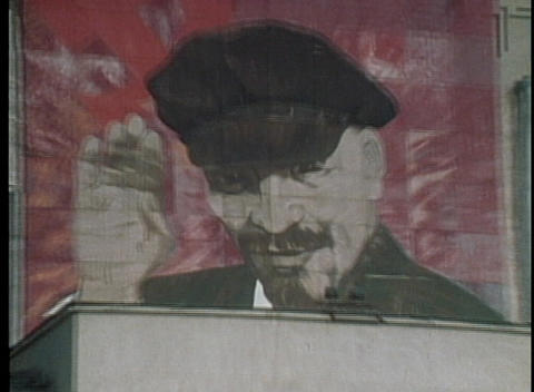 A giant poster of Lenin looms over Red Square in the former Soviet Union Footage