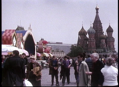 Pedestrians walk through Red Square in this archival shot of the former Soviet Union Footage