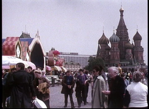 Pedestrians walk through Red Square in this archival shot... Stock Video Footage