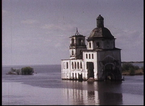 An old color travelogue shot of the Volga River and an... Stock Video Footage