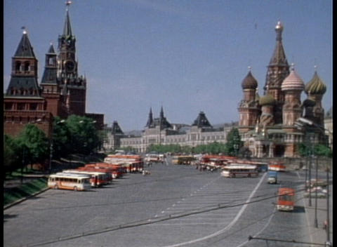 An archival shot overlooking Red Square and the Onion Domes Stock Video Footage