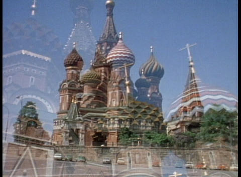 An archival shot overlooking Red Square and the Onion Domes Footage