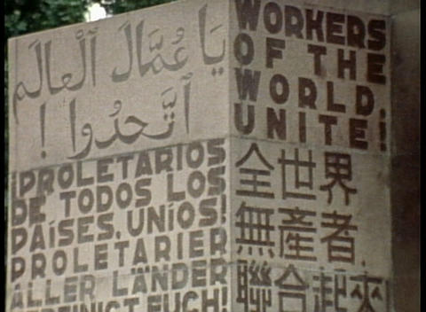 A revolutionary Communist slogan board announces workers... Stock Video Footage