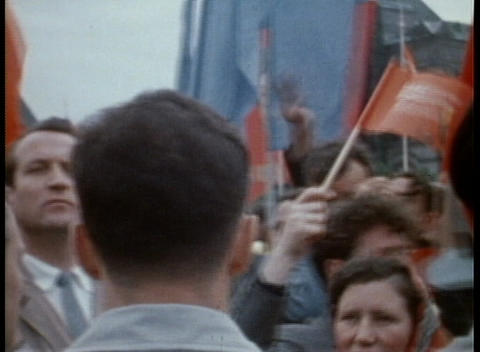 A Communist parade on the streets of Moscow in the 1970's Footage
