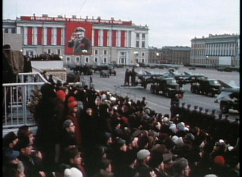 An old poster of a Soviet leader looks down upon a... Stock Video Footage