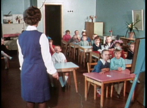 Russian children in a classroom in the former Soviet Union Stock Video Footage