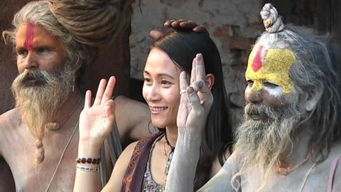 Hindu Sadhus - (Holy men) posing with tourist at... Stock Video Footage