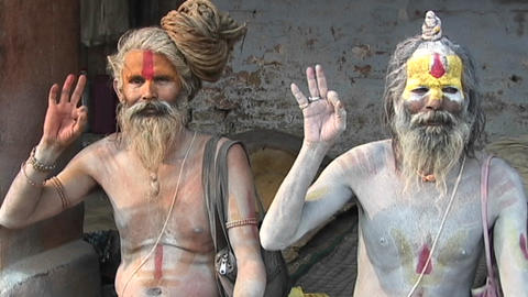 Hindu Sadhus - (Holy men) posing with religious hand... Stock Video Footage