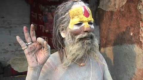 Hindu Sadhu - (Holy man) posing with religious hand... Stock Video Footage