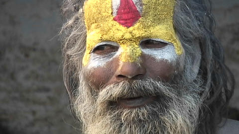 Close up on the face of a Hindu Sadhu - (Holy man) at Pashupati Temple in Kathmandu Footage