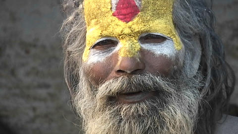 Close up on the face of a Hindu Sadhu - (Holy man) at... Stock Video Footage