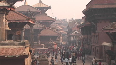 People walking at the old city of Patan, Nepal Footage