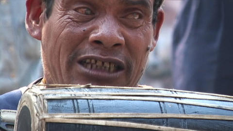 Nepalese drummer singing traditional Nepali music in... Stock Video Footage