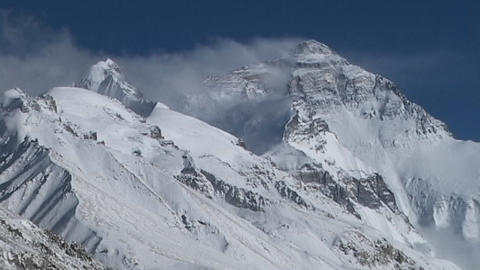 The North Face Massif of Mt. Everest Stock Video Footage