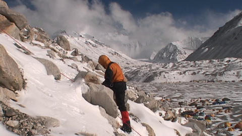 Climber climbing above Everest base camp Footage