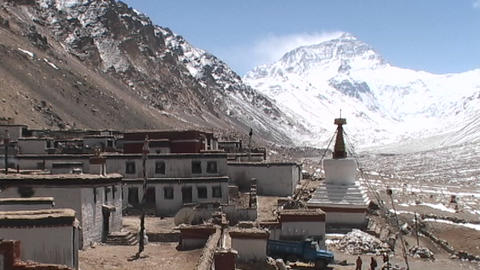 Wide view of entire Rongbuk Monastery with Mt. Everest in the background Footage