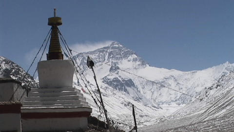 Rongbuk Monastery stupa with Mt. Everest in the background Footage