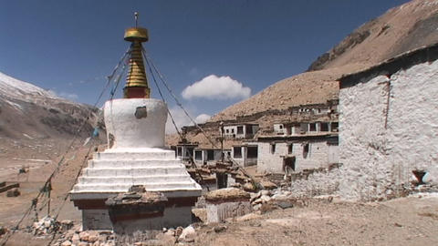 Rongbuk Monastery near Mt. Everest base camp in Tibet Stock Video Footage