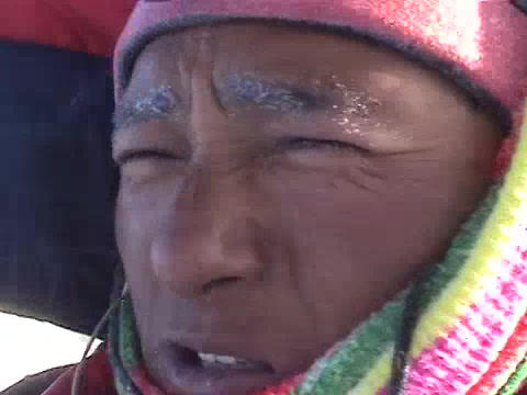 Close up of an exhausted climber on Mt. Everest Stock Video Footage
