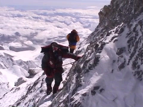 In the death zone near the summit of Everest - Climber... Stock Video Footage