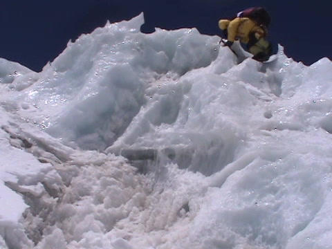 Extreme ice climbing - climbing down an icefall Stock Video Footage