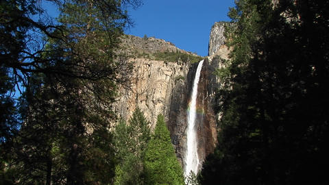 Long-shot of Bridal Veil Falls in Yosemite National Park, California Footage