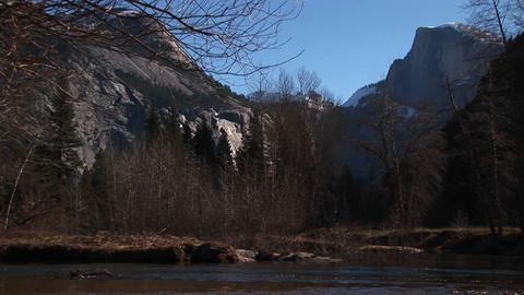 A look at bare trees and rocks with a stream rushing through the foreground Footage