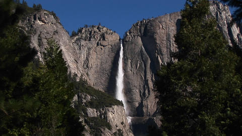 Long-shot of Bridal Veil Falls in Yosemite National Park Stock Video Footage