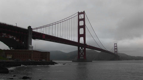 Even on a foggy day the structure of the Golden Gate... Stock Video Footage