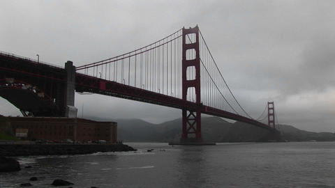 Even on a foggy day the structure of the Golden Gate Bridge is an awesome sight Footage