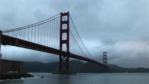 View of the Golden Gate Bridge stretching from San Francisco across the Bay to the Marin Headlands Footage