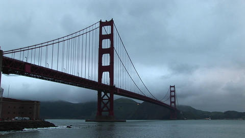 View of the Golden Gate Bridge stretching from San... Stock Video Footage