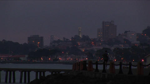 A jogger has an extraordinary nighttime view of San... Stock Video Footage