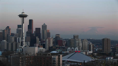 Seattle's landmark Space Needle dominates the city's... Stock Video Footage