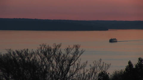 A ferry boat crosses the Puget Sound Stock Video Footage
