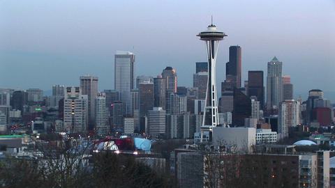 Aerial view of Seattle's landmark Space Needle and the cluster of skyscrapers surrounding it Footage