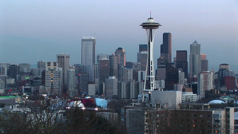 Aerial view of Seattle's landmark Space Needle and the... Stock Video Footage