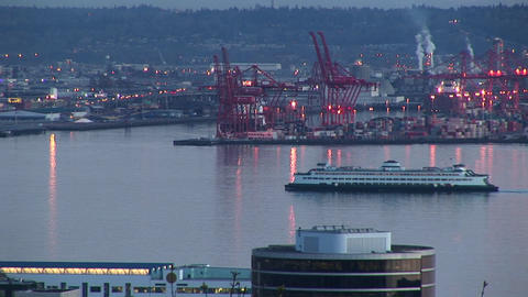A cruise ship slowly makes its way through Seattle's busy... Stock Video Footage
