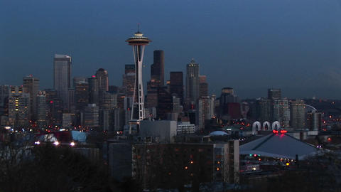A look at Seattle's stunning skyline with its landmark Space Needle during the golden-hour Footage