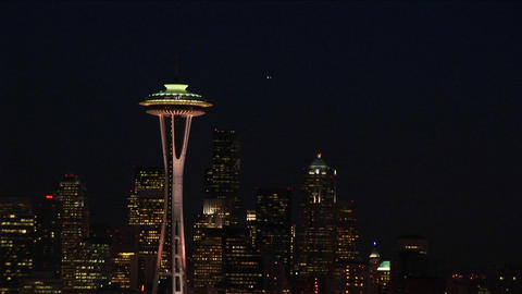 A spectacular aerial view of Seattle's Space Needle at night Stock Video Footage