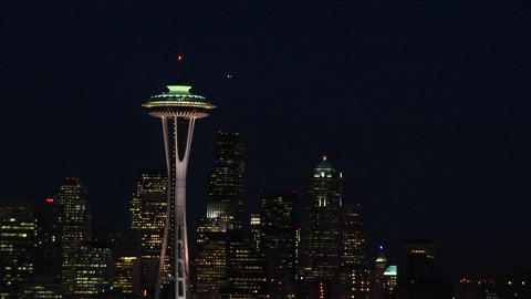 A spectacular aerial view of Seattle's Space Needle at night Footage