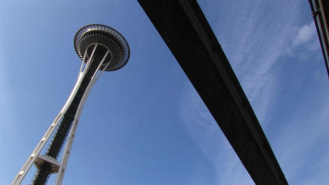 A worms-eye angled-view of Seattle's Space Needle and the... Stock Video Footage