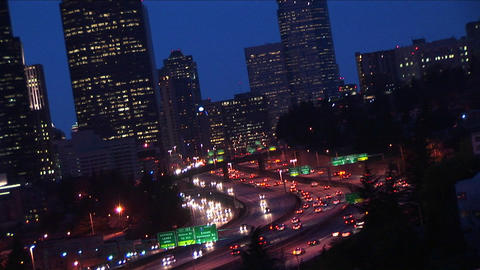 A close-up of downtown Seattle buildings with heavy... Stock Video Footage