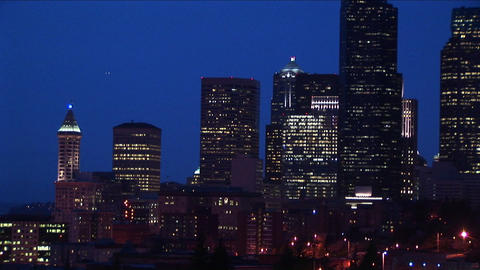 Long-shot of the Seattle skyline at night Stock Video Footage